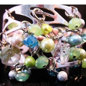 ⭐️Silver bracelet cuff with mixed stones